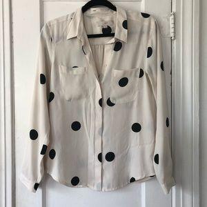LOFT Button Down Blouse Black & Cream Polka Dot